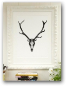 Deer Skull/Cutout Head in an Ornate Hand Painted frame  - click to visit artists gallery ->