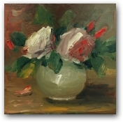 Spring Roses in a White Vase  - click to visit artists gallery ->