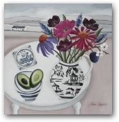 Echinacea and English delftware  - click to visit artists gallery ->
