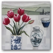 Tulips and delft jug II  - click to visit artists gallery ->